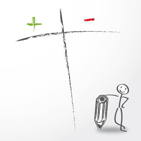 evaluacion: La toma de decisiones, pros y contras lista con figura de palo que sostiene la pluma