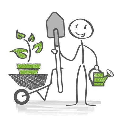 landscape gardener: allotment garden concept Illustration