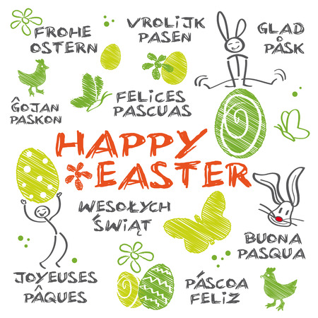 Illustrated Easter greetings in different languages Vector