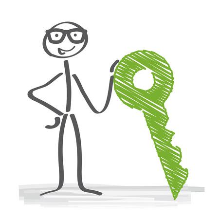 tenancy: Stick figure has the key to success concept