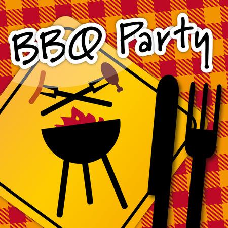 バーベキュー s 調理法および装置 BBQ パーティーへの招待  イラスト・ベクター素材
