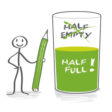 optimist: Optimist with half-full glass Illustration