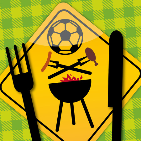 Soccer BBQ Party invitation  Vector