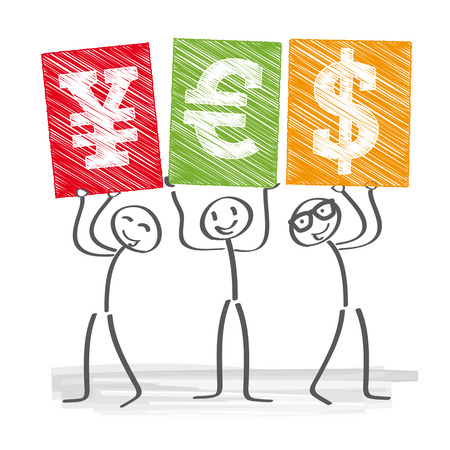 undertake: Three business people holding up signs with currency symbols Illustration