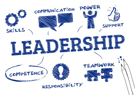 leadership management: leadership concept   Chart with icons and Keywords  Illustration