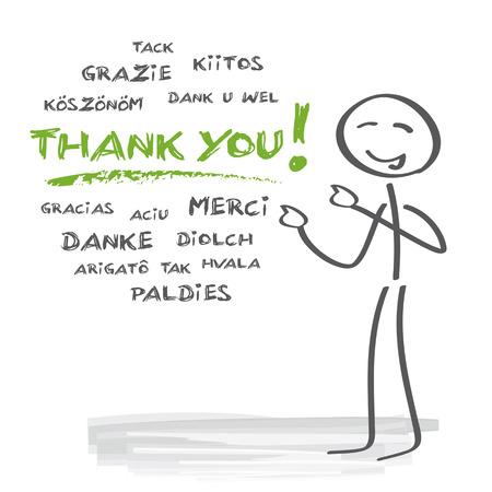 Ringraziamento in molte lingue diverse