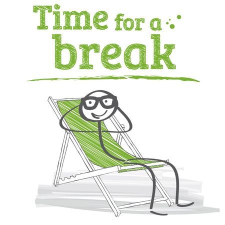 break: Male is recovering in a deck chair