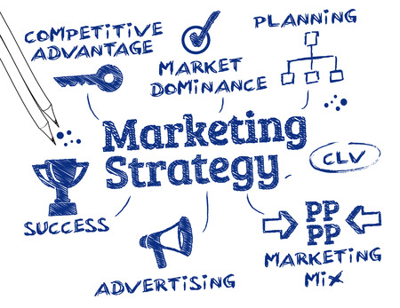 keywords: Marketing concept  Chart with keywords and icons Illustration