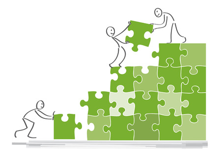 Teamwork concept, people work together, assemble puzzle pieces Illustration