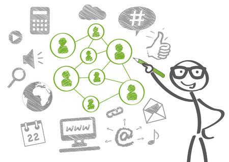 ビジネスマンは社会的なメディアの概念を描画します  イラスト・ベクター素材
