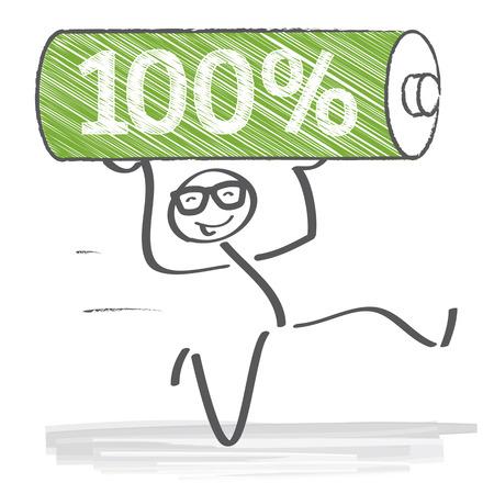 endurance run: Stick figure running at full power and full battery Illustration