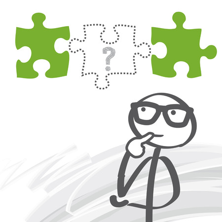 Stick figure seeking solutions - Missing Puzzle Piece Vector