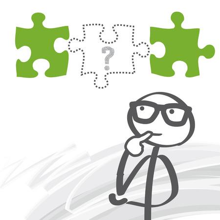 question mark: Strichm�nnchen der Suche nach L�sungen - Fehlendes Puzzleteil