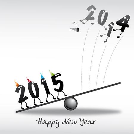 jahreswechsel: 2015, felice anno nuovo biglietto di auguri Vettoriali