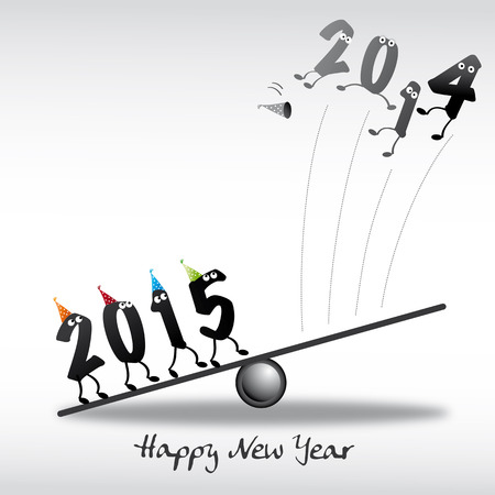 fulfillment: 2015, happy new year greeting card Illustration
