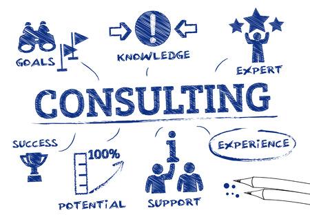 Konsultacji koncepcji. Wykres z ikonami i Słowa kluczowe