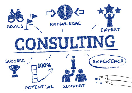Consulting concept. Chart with icons and Keywords Illustration
