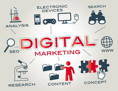 marketing concept: Digital marketing is marketing that makes use of electronic devices to engage with stakeholders