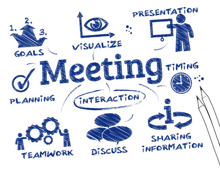 In a meeting, two or more people come together to discuss one or more topics, often in a formal setting