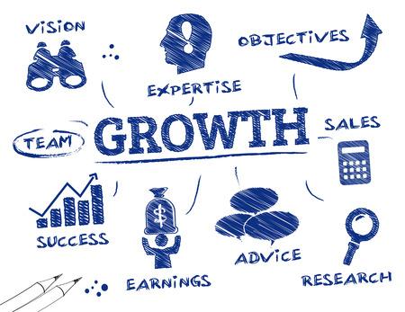 Crecimiento. Gráfico con las palabras clave y los iconos Foto de archivo - 32056097