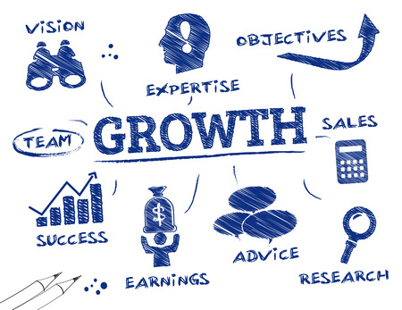 Growth. Chart with keywords and icons Vettoriali
