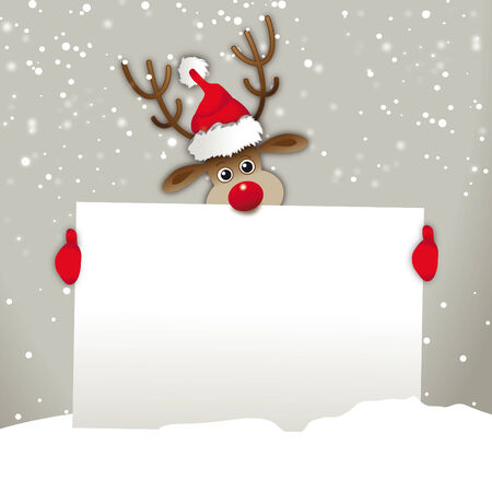 Reindeer with santa hat, holding advertising sign Vector