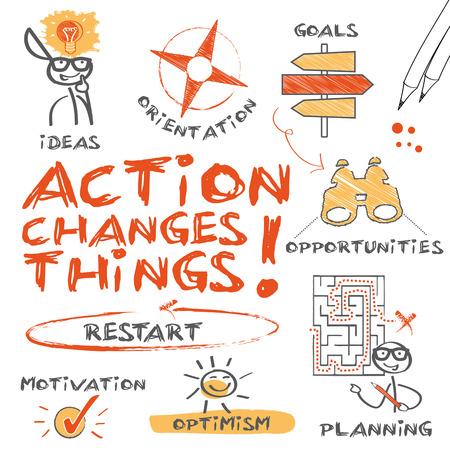 plan de accion: Acci�n cambia las cosas, gr�fico con las palabras clave y los iconos Vectores