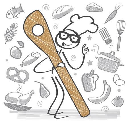 Chef Cooking. Healthy, delicious Food Vector