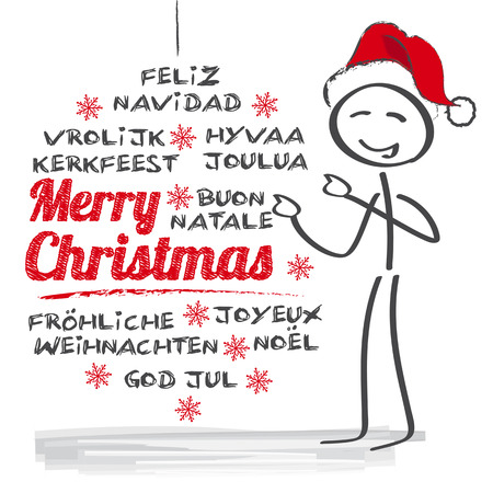 multilingual: merry christmas greeting card multilingual