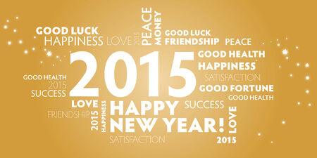cartolina dorato felice anno nuovo 2015