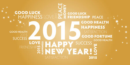 contentment: golden postcard happy new year 2015