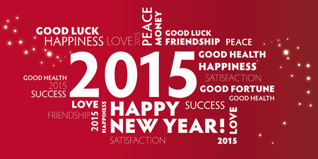 contentment: red postcard happy new year 2015 Illustration