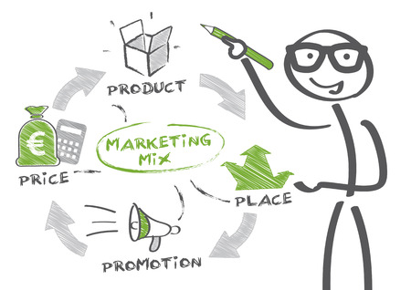 Man drawing marketing strategy concept. Keywords and icons Illustration