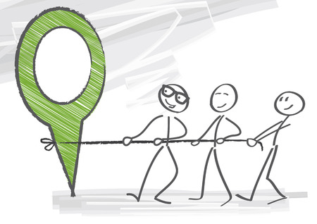Working together to achieve achievement goals Illustration