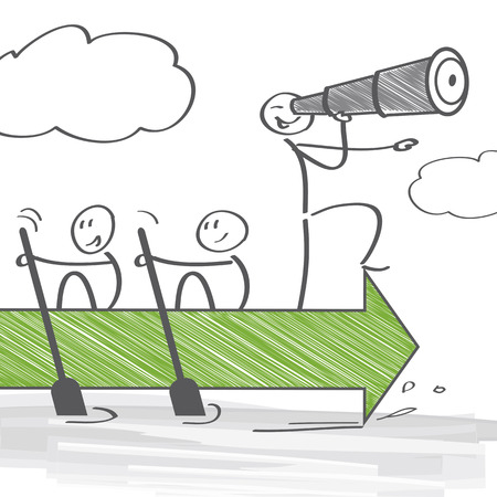 realizować: Grupa osób pracujących razem, aby osiągnąć wspólny cel Ilustracja