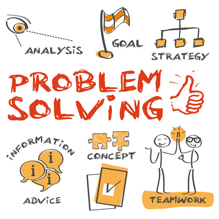 problemsolving: problem-solving concept. Sketch with keywords and icons