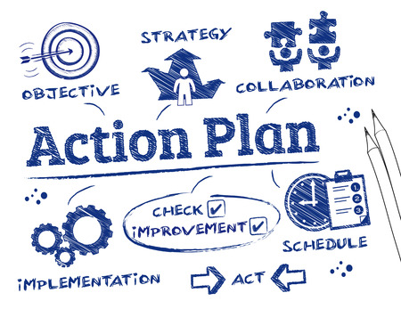 in action: Plan de acción. Gráfico con palabras clave y los iconos