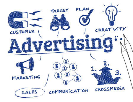 public market sign: Advertising concept. Chart with keywords and icons