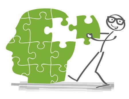 Creative puzzle brain Idea concept Vectores