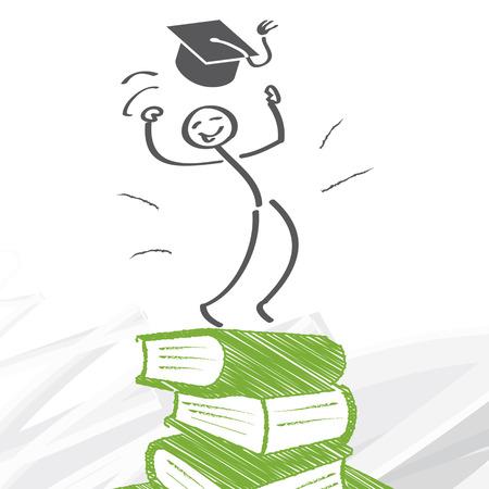 Erfolg durch Bildung - Zahl steigt einen Berg der Bücher Standard-Bild - 35151340