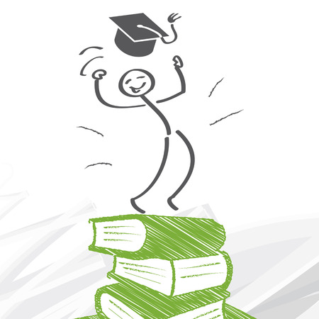 Success through Education - figure climbs a mountain of books 向量圖像