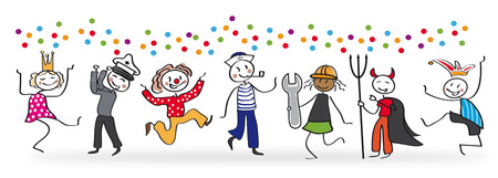 has: Celebration festive background with carnival stickfigures Illustration