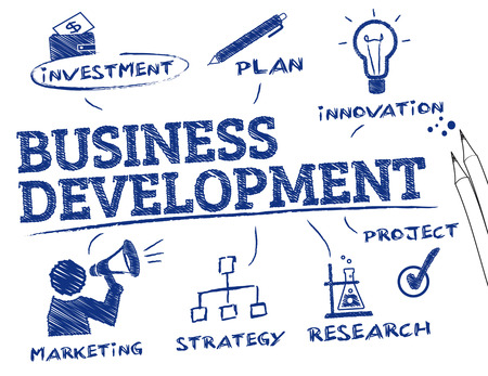 Business Development. Chart with keywords and icons