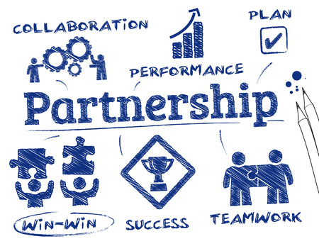 business partnership: Partnership concept. Chart with keywords and icons