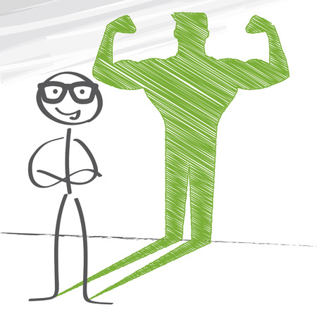 motivated: Stick figure with sketched strong and muscled arms Illustration