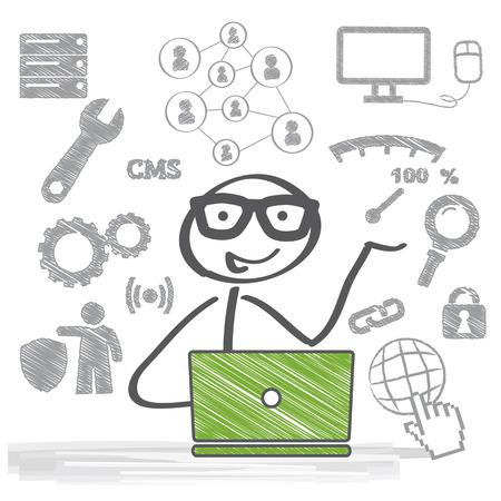 システム管理者は、維持管理、構成、およびコンピューター システムの信頼性の高い操作の責任者です。 写真素材 - 36245391