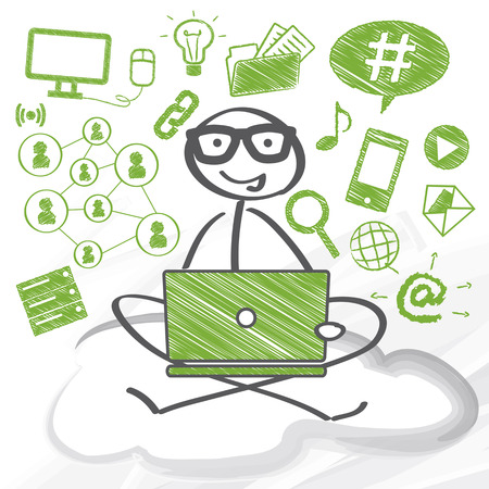 dom: User on sitting with computer on a cloud Illustration