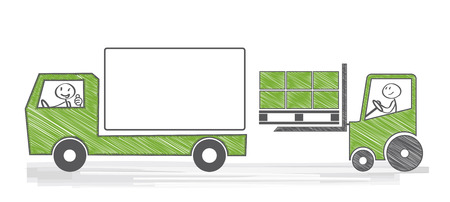 building trade: Loading a truck with cargo Illustration