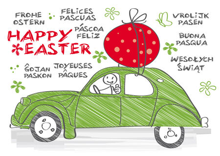 multilingual: Happy Easter multilingual greeting card
