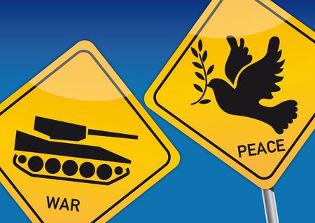 Krieg und Frieden Abbildung mit Symbolbilder Illustration